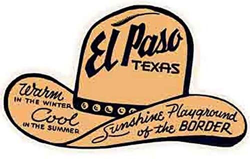El Paso Texas Hat Sunshine Playground of the Border Vintage Decal Sticker Souvenir
