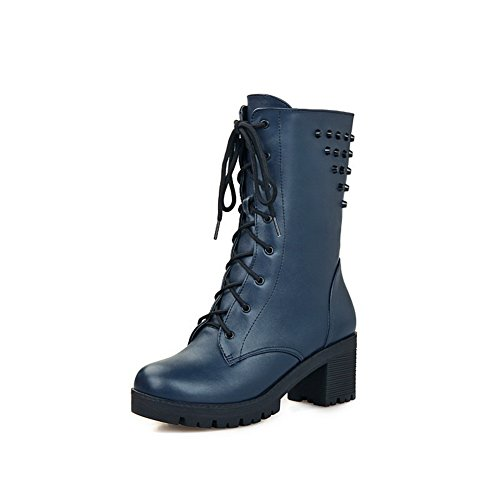 Blue Round Zipper Toe AdeeSu Platform Leather Boots Girls Imitated q6Zta1x
