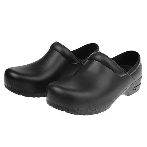 Gazechimp Zapatos Ocasionales de Médico de Cocinero de Trabajo Antideslizantes Impermeabilizan Blanco/Negro Negro
