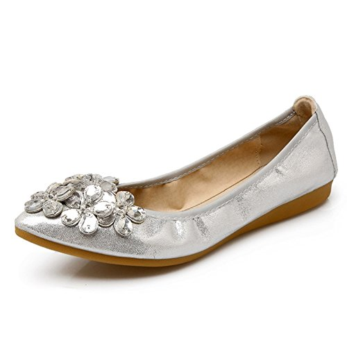 Meeshine Womens Foldable Soft Pointed Toe Ballet Flats Rhinestone Comfort Slip on Flat Shoes(8 B(M) US,Silver)