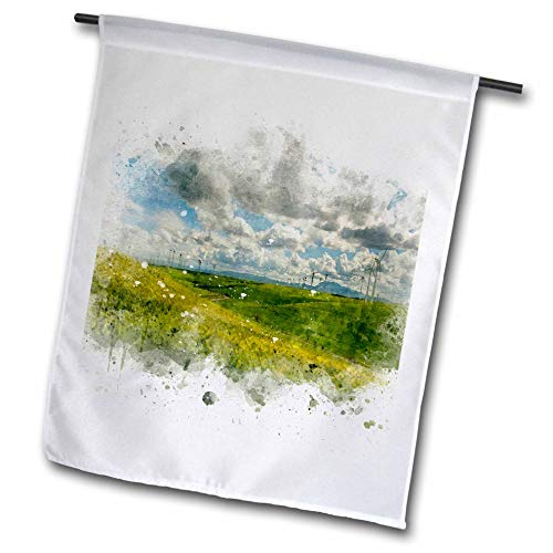 3dRose Anne Marie Baugh - Impressionist Mixed Media Art - Image of Watercolor Modern Windmills in A Field Art - 18 x 27 inch Garden Flag (fl_318691_2)