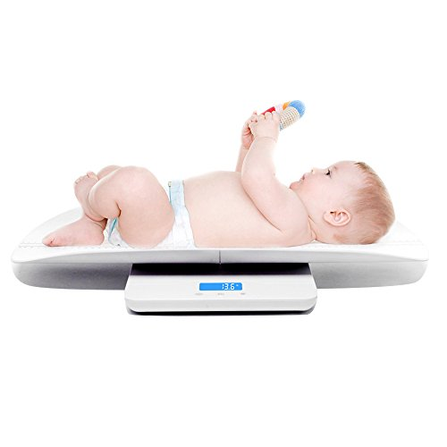 Multi-Function Digital Baby Scale Measure Infant/Baby/Adult Weight Accurately, 220 Pound (lbs) Capacity with Precision of 10g, Blue Backlight, KG/oz/LB, Length 60 cm (White)