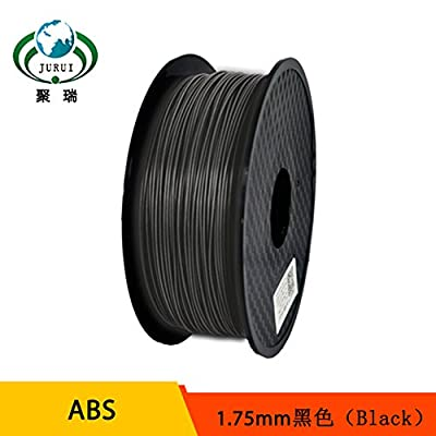 3D Printing Filament ABS-1kg1.75-BLK JURUI 3D Printer Filament ABS, Dimensional Accuracy +/- 0.05 mm, 1 kg Spool(2.2 lbs), 1.75mm, Black,For 3D printer and 3D pen