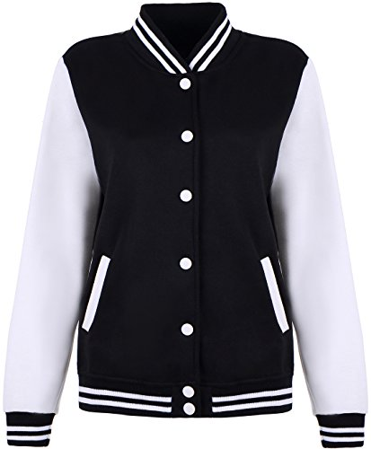 Latud Women Varsity Uniform Baseball Boyfriend Athletic Jacket Fleece Coat Black, Black, Medium - Denim Varsity Jacket