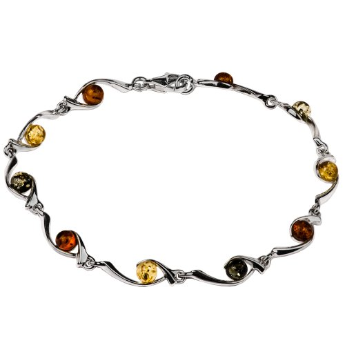 Sterling Silver Multicolor Amber Bead on Hook Link Bracelet 7 (Unusual Stone)