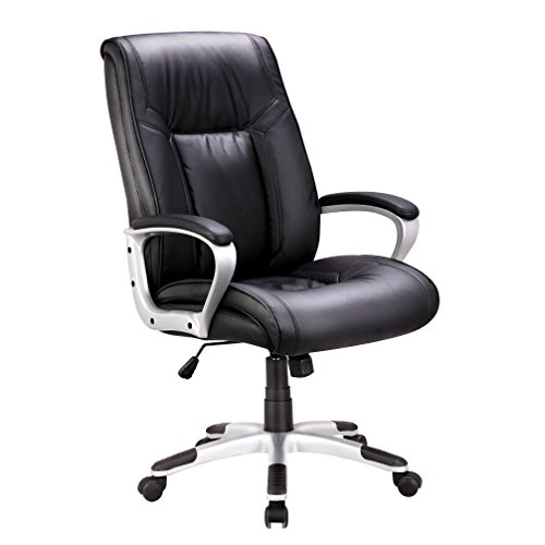 Mid-Back Executive Office Chair, IntimaTe WM Heart Faux Leather Computer Desk Chair, Ergonomic Design Adjustable Seat Height, Synchro Tilt Mechanism, 360 Degree Swivel, Black
