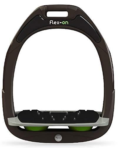 【 限定】フレクソン(Flex-On) 鐙 ガンマセーフオン GAMME SAFE-ON Mixed ultra-grip フレームカラー: ブラウン フットベッドカラー: グレー エラストマー: グリーン 88219   B07KMSH6D4