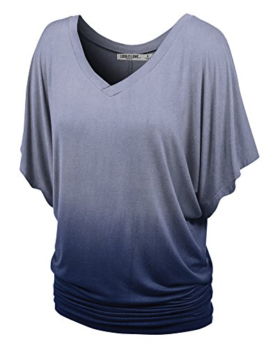 (WT1117 Womens V Neck Short Sleeve Ombre Drape Dolman Top XXL NAVY)