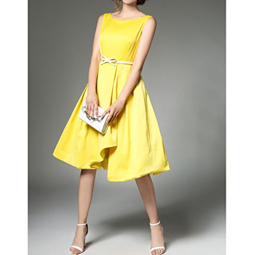 Honghu Verano Sins Manga Cuello Impresión Plisado Ajustado Vestido Para Mujer Amarillo