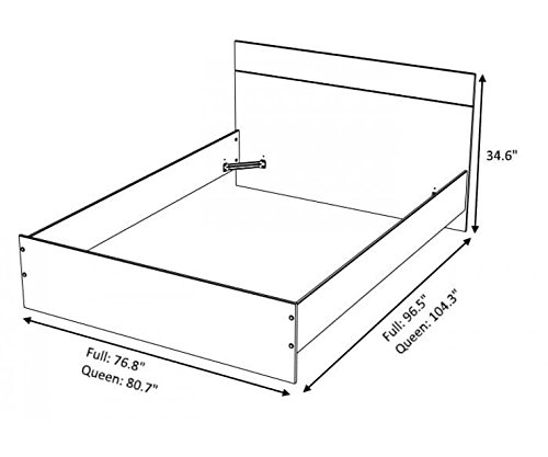 Parisot 3410L6CH Contemporary Alix Platform with 2 Bedside Tables, Queen