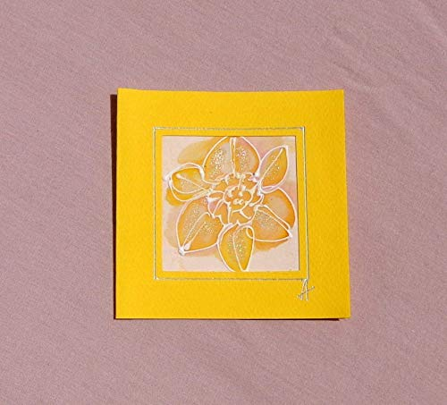 Yellov Daffodils card, Paintings on Silk-Batik, Personalised Daffodils Card, Daffodil Mother