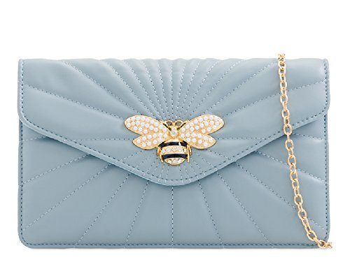 Bag Serenity Ladies Women's Bee Handbag Clutch KL2245 Charm Pearl Insect Evening Quilted Bag qwa6Xq