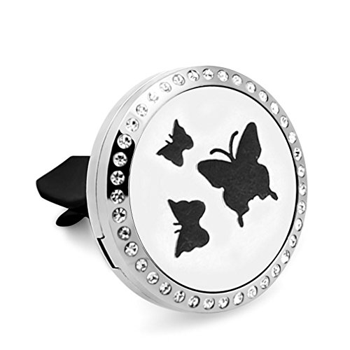 Hypo-Allergenic Stainless Steel Beautiful Butterfly Car Vent Clip Aromatherapy Fragrance Diffuser Air Freshener Locket 10 Refill Pads