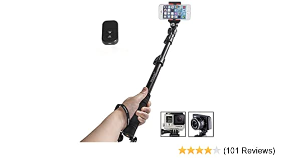 Handheld Selfie Stick with Remote Housing Tripod Mount for GoPro Hero 1 2 3 3+4 Handheld Telescopic Self-portrait Monopod with Bluetooth Remote Shutter Adjustable Phone Holder for iPhone 6s 6 Plus 6S 6 5S Samsung Galaxy Note 5 S6 Edge S6 S5 S4