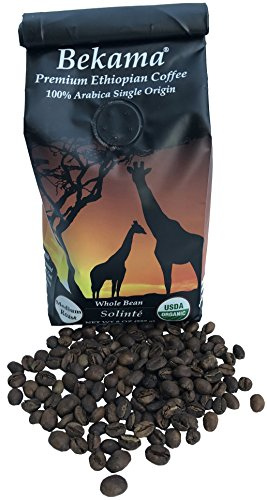Bekama USDA Organic GMO-Free, Premium Ethiopian Specialty Coffee, 100% Arabica, Single-Origin Traceable, Hand Picked (Whole Bean, 8 Ounce)