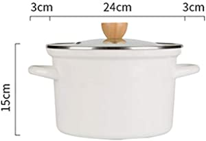 RPLW Multi Cooker Stock Pot,Slow Cooking Nonstick Stew Pot,Enameled Cast Iron Dutch Oven,Round Casserole with Glass Lid White 4.75quart(4.5l)