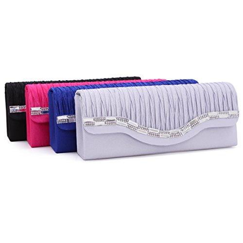 Damara Para Mujer distintivo arruga satinado diseñado cóctel de embrague bolso de mano rosa (b)