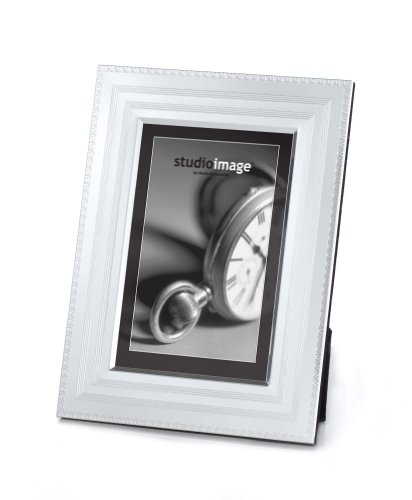 4X6 SILVER LINES FRAME - 4X6 DOUBLE INNER LINES SILVER PLATED PHOTO FRAME - f...