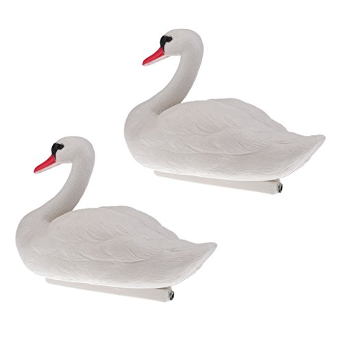 Baoblaze 2 Pieces, Floating Swan Decoy, for Hunting, Fishing, Garden Decors, Pest Scarer, Realistic Ornament