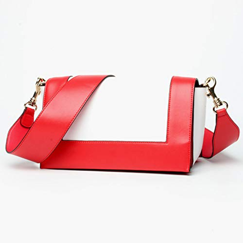 Tacco Tracolla Piccola Donna color Da Borsa In Red Pelle Medio Diagonale white Klerokoh white Red A Quadrata 80Ewq8FP
