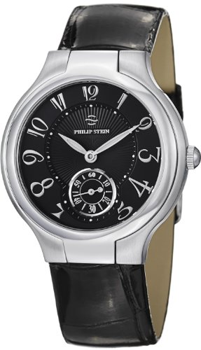 Philip Stein Signature Round Ladies Black Leather Strap Natural Frequency Technology Watch 41-FB-ABS