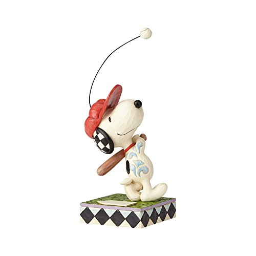 "Enesco Peanuts by Jim Shore Snoopy Beagle at Bat Figurine 7.5"" White"