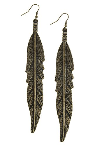 KARMAS CANVAS SKINNY ETCHED FEATHER DROP EARRINGS (Antique Gold) (Cheap Spongebob Costume)