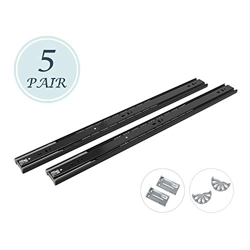 22 Inch Full Extension Ball Bearing Soft Close Slides 80 LB Capacity Kitchen Cabinet Drawer Slides Black Finish, Rear Mount Bracket and Screws are Included (22 Inch 5 Pair)