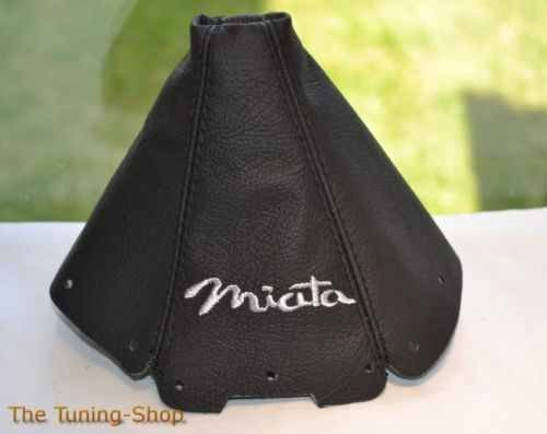 - The Tuning-Shop Ltd For Mazda Mx-5 Mk1 NA 1989-1997 Shift Boot Black Leather Grey Miata Embroidery
