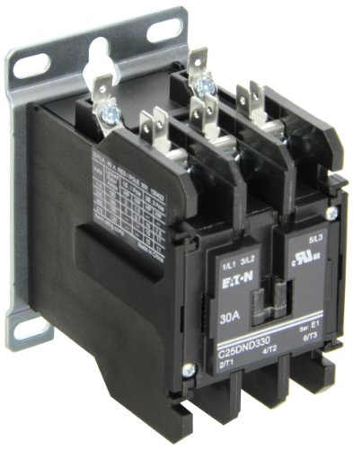 Contactor Single Pole 480vac Coil (Eaton C25DND330B Definite Purpose Contactor, 50mm, 3 Poles, Screw/Pressure Plate, Quick Connect Side By Side Terminals, 30A Current Rating, 2 Max HP Single Phase at 115V, 10 Max HP Three Phase at 230V, 15 Max HP Three Phase at 480V, 208-240VAC Coil Voltage)