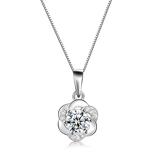 925 silver-plated Plum necklace pendant women girls send his girlfriend a birthday gift diamond necklace pendant white plum blossoms