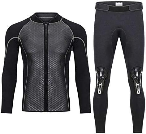 メンズトップウェットスーツジャケットパンツ2.5mmネオプレン長袖水着サーフィン  Small