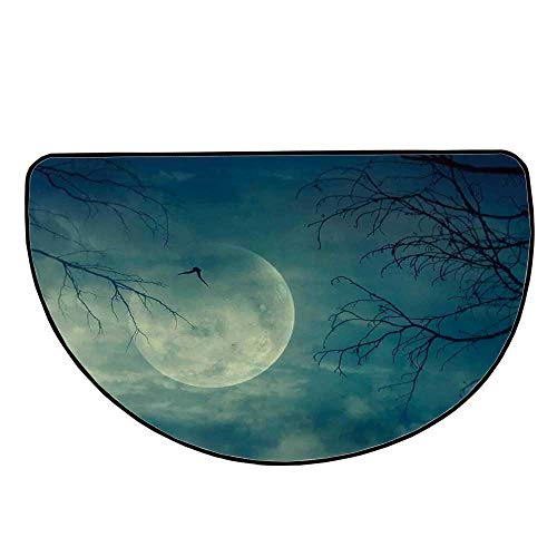 Horror House Decor Comfortable Semicircle Mat,Halloween with Full Moon in Sky and Dead Tree Branches Evil Haunted Forest for Living Room,15.7