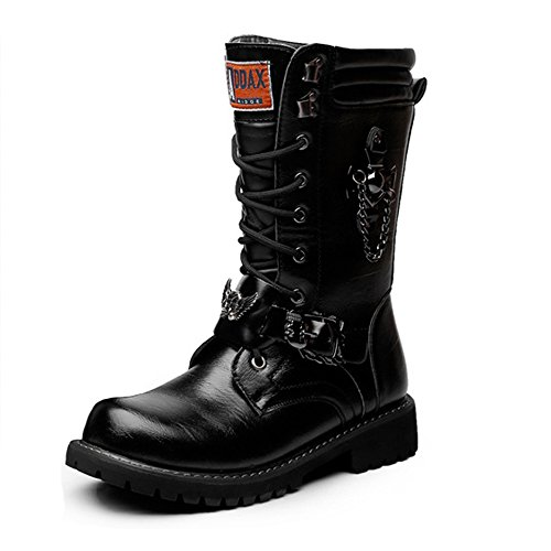 Leather Shoes, Men's Shoes Lace up Chain Decoration Leather Upper Mid Calf Combat Martin Boots Run A Size Larger Black