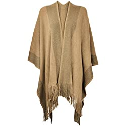 Women's Shawl Golden Trim Knit Blanket