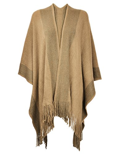 ZLYC Women's Shawl Golden Trim Knit Blanket Wrap Fringe Poncho Coat Cardigan (Camel)