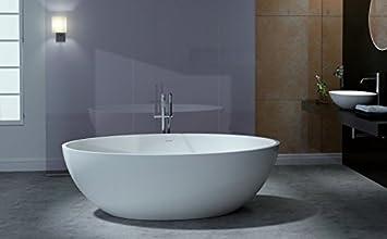 Freistehende Badewanne aus Mineralguss RELAX weiß - 176x103cm ...