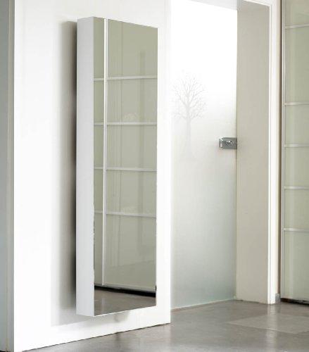 Schuhschrank SCHUH-BERT 500 Mirror drehbarer Schuhschrank Spiegelschuhschrank Spiegel weiß Höhe 150cm
