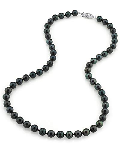 (THE PEARL SOURCE 14K Gold 7.0-7.5mm AAA Quality Round Genuine Black Japanese Akoya Saltwater Cultured Pearl Necklace in 18