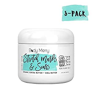 Body Merry Stretch Marks & Scars Defense Cream 3-PK: Daily Moisturizer w Organic Cocoa Butter + Shea + Oils for removal & fading for old/new scars, stretch marks, pregnancy - Perfect for Men & Women