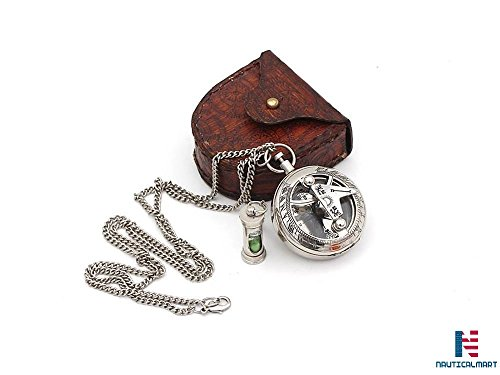 NAUTICALMART Solid Brass Sundial Push Compass with Leather Case