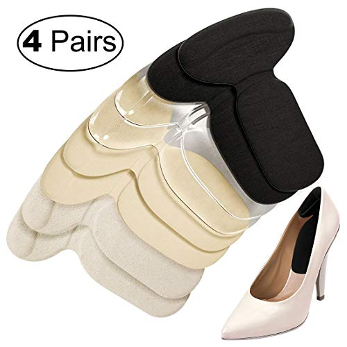 Heel Cushion Inserts, Heel Grips Silicone Shoe Pads for Women Loose Shoes and High Heels Shoe Too Big, Anti-Slip Heel Inserts Liners Blister Prevention and Protectors Foot Insoles for Women - 4 Pairs