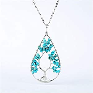 necklace,New Silver Color Crystal Natural Stone Tree Of Life Pendant Necklaces Wire Water Dropped Metal Chain Necklace For Women Female-turquoise