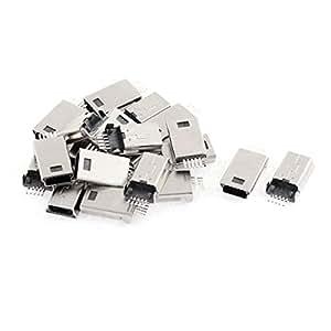 20pcs Mini USB 5P enchufe masculino del adaptador del conectador del tono de plata