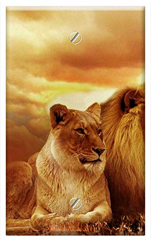 (Single-Gang Blank Wall Plate Cover - Lion Safari Africa Landscape Steppe Sunset Nature)