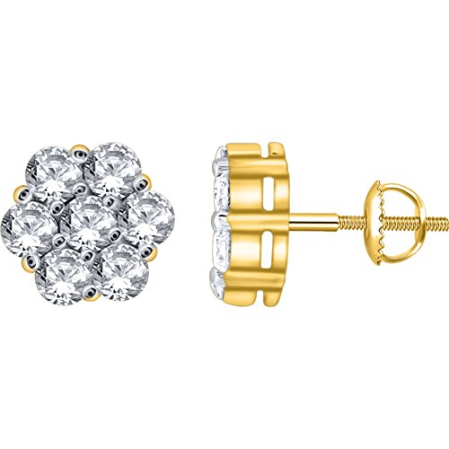 0.50 Carat (ctw) 14k Yellow Gold Round Diamond Flower Shape Invisible Cluster Stud Earrings with Screw Back 1/2 CT