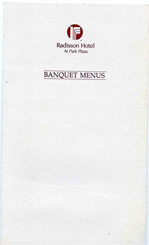Radisson Hotel at Park Plaza Banquet Menus Packet Oshkosh Wisconsin