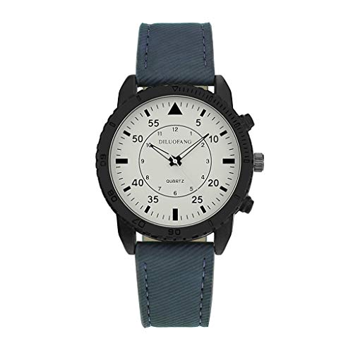 WoCoo Watch,Luxury Quartz Analog Dial Retro Solid Leather Band for Mens(Blue)