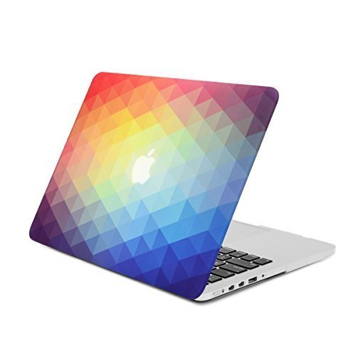 Unik Case Ultra Slim Light Weight Matte Rubberized Hard Cover for Macbook Pro 13-inch with Retina Display Models  A1425 and A1502 - Rainbow Gradient Ombre Triangular