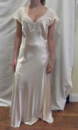 Jane Woolrich Handmade Satin Chiffon Peach Nightgown And